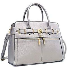 Women Padlock Briefcase Vegan Leather Satchel Handbags Shoulder Bag Work Purse with Double Front Pockets Satchel Handbags, Leather Handbags, Satchel Bag, Handbags On Sale, Purses And Handbags, Summer Handbags, Work Tote, Work Purse, Leather Handle