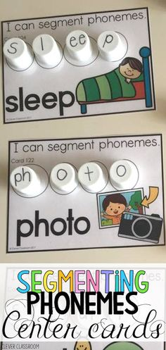 Focus on segmenting and 5 phoneme words. Spelling Activities, Teaching Activities, Teaching Reading, Phonemic Awareness Activities, Phonological Awareness, Kindergarten Language Arts, Reading Intervention, Activity Centers, Word Work
