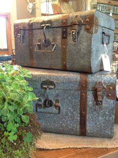 Best of both worlds,,,galvanized and a suitcase ! Old Trunks, Trunks And Chests, Galvanized Buckets, Galvanized Metal, Vintage Suitcases, Vintage Luggage, Natural Living, Three Oaks, Industrial