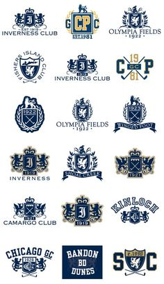 Crests & Emblems - Golf by Matthew Thomas, via Behance - mathilde Badge Design, Logo Design, Graphic Design, Polo Logo, University Logo, School Logo, Crests, Vintage Labels, Logo Inspiration