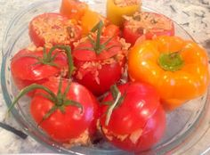 Vegan Lemony Greek Stuffed Tomatoes or Peppers #Vegan  #gf Gluten Free A-Z Blog: