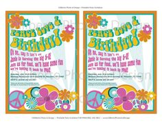 PRINTABLE Party Invitation  Hippie 1960s by dilibertodesign, $12.00