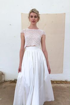 delicate bridal wear by Julia Sophie - Hochzeit Country Wedding Dresses, Modest Wedding Dresses, Boho Wedding Dress, Casual Dresses, Fashion Dresses, 2 Piece Wedding Dress, Unusual Wedding Dresses, Bridesmaid Skirts, Wedding Lace
