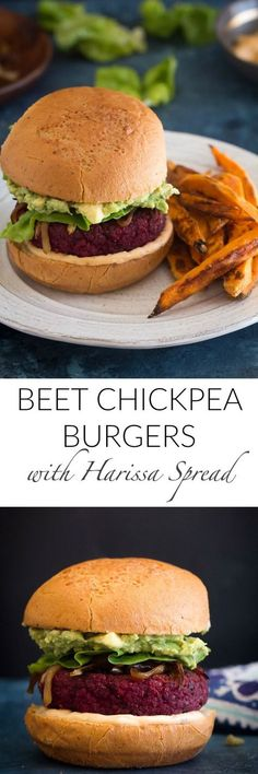 These Beet Chickpea Burgers with a vegan harissa spread are the ULTIMATE veggie burger. Their gorgeous bright pink hue makes them even more mouthwatering. Vegetarian Sandwich Recipes, Veggie Sandwich, Healthy Sandwiches, Sandwiches For Lunch, Soup And Sandwich, Burger Recipes, Vegetarian Meals, Best Gluten Free Recipes, Delicious Recipes
