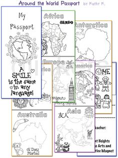classroom passport, teacher clip art, learning countries & culture