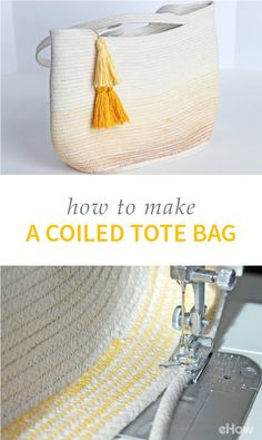 This rolled-up DIY tote bag is surprisingly easy to make! All you need to make this modern bag is cl Diy Bags No Sew, Sew Bags, Bags Sewing, Sewing Clothes, Diy Sac, Fabric Bowls, Diy Tote Bag, Rope Crafts, Decor Crafts