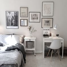 Charming bedroom with small work space with Ikea 'Micke' desk More