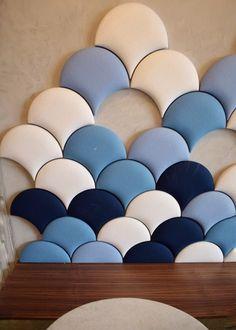 Pinkberry Islington London restaurant interiors bloggers guide scallop fishscale tiles blue white fabric
