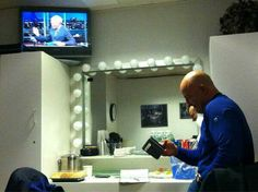 Jim Cantore (Weather Channel) backstage at Late Show with David Letterman). (Thanx to Jim Cantore, CBS)