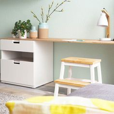 DIY made desk with Stuva drawer from Ikea Diy Interior, Office Interior Design, Home Office Decor, Home Decor, Simple Interior, Interior Modern, Workspace Inspiration, Interior Inspiration, Kids Study Spaces