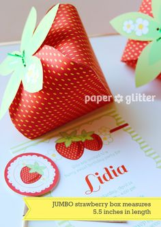 Strawberry Paper favor party box - RED printable pdf
