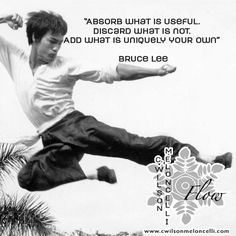 """Here's some #motivationalquotes from Bruce Lee """" #Absorb what is useful. #Discard what is not. #Add what is uniquely your own."""" Do you agree with this #martialArtist #Legend? Click Like and Repin!"""