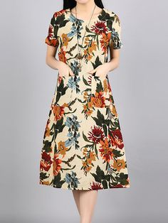 Vintage Women Floral Printed Short Sleeve O-Neck Mid-Long Dresses Shopping Online - NewChic Mobile.