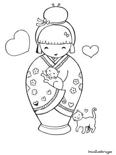 Only The Best Embroidery Designs Colouring Pages, Coloring Books, Free Adult Coloring, Chinese Embroidery, Kokeshi Dolls, Matryoshka Doll, Thinking Day, Digi Stamps, Japanese Art