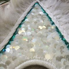 White rainbow sparkle sequin & white feather chest piece or wall hanging  Burning Man festival fashion )'( www.LadeeTaha.com