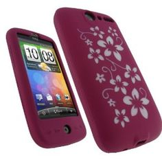 igadgitz Pink & White Flower Design Silicone Skin Case Cover for HTC Desire Bravo G7 Android Smartphone Cell Phone + Screen Protector