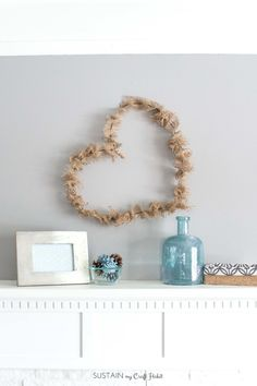 The easiest rustic Valentines decor you'll ever see! A simple burlap and wire heart wreath.