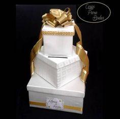CA_185 Caja para Sobres Ivory Dorada #bodas , personalizada