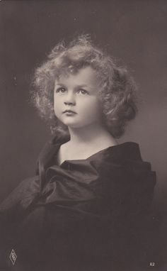 Romantic Portrait Angelic Edwardian Little Girl with Dreamy Eyes in Black Satin...postmarked 1910
