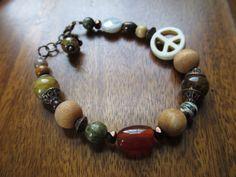 Multi-stone Peace Sign Yoga Bracelet on Etsy, $14.95