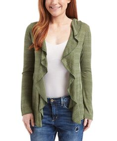 Another great find on #zulily! Olive Ruffle Cardigan #zulilyfinds