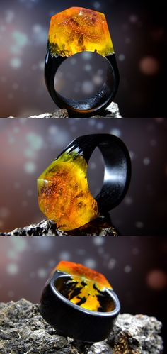 Wooden resin ring made of black horndeam and orange jewelry resin. Can be made for order in any size.