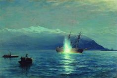 Sinking  the Turkish steamer 'Intibach' by boats of ship 'Grand Duke Constantine' in the Batumi raid on the night of January 14, 1878 - Lev Lagorio