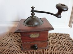 Antique French coffee grinder wood coffee mill wooden coffee grinder, Peugeot coffee grinder, complete w label, kitchenware, country cottage