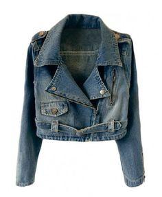 Cropped Denim Jacket with Zipped Cuffs