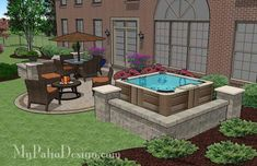 With 445 sq. ft., our Hot Tub Patio Design with Seat Walls lavishes it's guests with dining outdoors, a warm fire pit and/or a relaxing dip in the hot tub.