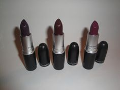 MAC Smoked Purple, Prince Noir and Rebel Lipstick Bold Lipstick, Makeup Haul, Fall Makeup, Makeup Trends, Dark Purple, Rebel, Lipsticks, Prince
