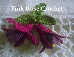 PINK ROSE CROCHET: Barrado Flores Brincos de Princesa em Crochê