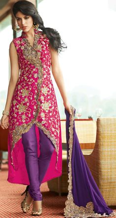 402821 Pink and Majenta, Purple and Violet color family Party Wear Salwar Kameez in Satin, Crepe fabric with Machine Embroidery, Stone, Border work. Pakistani Couture, Indian Couture, Pakistani Outfits, Indian Outfits, Designer Salwar Kameez, Designer Anarkali, Indian Attire, Indian Wear, India Fashion