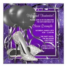 Elegant Purple High Heels Birthday Party Invitation Pearl Birthday Party, Elegant Birthday Party, Purple Birthday, 40th Birthday Parties, Birthday Ideas, Birthday Celebration, Birthday Cake, 50th Party, Birthday Board