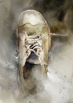 """John Lovett. I love this artist! Would love for Byron to paint a """"One Shoe"""" for me for Patrick. These neutral colors are fantastic."""