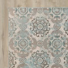 Found it at AllModern - Clotilde Teal/Beige Area Rug