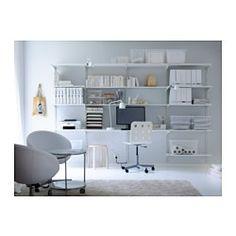 ALGOT Wall upright/shelves, white - IKEA I Need Space, Ikea Algot, Rv Redo, Guest Room Office, Home Office, Play Rooms, Small Office, Sewing Rooms, Office Ideas