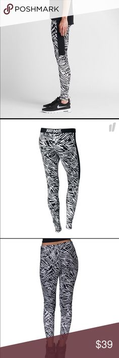 Nike Leg A See AOP Legging Made of ultra stretch fabric, with a cool swish print. Side paneling create a flattering leg line. Nike Just Do It written on inside waist band. Modern black/white scheme make this a perfect Legging to sport all day in comfort. 57 cotton , 32% polyester, 11% spandex. NEW WITH TAGS ATTACHED Nike Pants Leggings