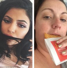 Kylie Jenner taking a selfie with her hair across her mouth becomes Celeste with a McDonalds hash brown across her face