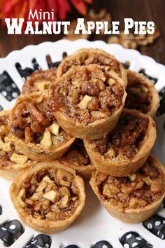 Mini Walnut Apple Pies - easy muffin tin apple pie recipe made in mini muffin pans. Apple Pie Recipes, Best Dessert Recipes, Fun Desserts, Sweet Recipes, Delicious Desserts, Healthy Desserts, Walnut Recipes, Eggless Desserts, Apple Desserts
