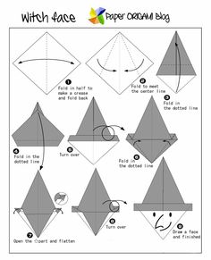 Origami A Witch(face) instructions halloween oragami Origami Guide, Instruções Origami, Origami Bookmark, Origami Stars, Oragami, Origami Instructions For Kids, Origami Tutorial, Origami Witch, Easy Origami Flower