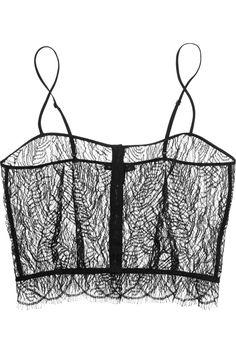 Kiki de Montparnasse|Enchante stretch charmeuse-trimmed Chantilly lace camisole{via NET-A-PORTER.COM}