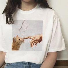 Cat Funny T Shirt Female Hands Casual Michelangelo Fashion Short Sleeve Tshirt Ulzzang Kawaii Women Streetwear Grunge Harajuku Aesthetic T Shirts, Aesthetic Clothes, Ulzzang, Kleidung Design, Cat Shirts, Women's Summer Fashion, Shirt Price, Look Cool, Nice Tops