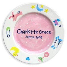 Personalized Charm Birth Plate - Girl - http://www.247babygifts.net/personalized-charm-birth-plate-girl/