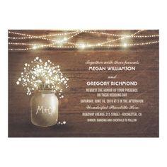 Baby's Breath Mason Jar Rustic Vintage Wedding Card - tap to personalize and get yours   #wedding #invitation #weddingideas #weddinginspiration  #flower #floral #botanical #outdoor #nature #romantic