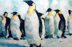 Emperor Penguins Abstract Realism Artwork, By Samuel Durkin. Painting for Sale. http://www.arts-fine.co.uk