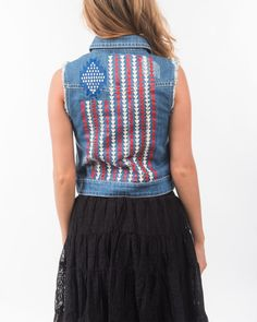 Rock & Roll Cowgirl | Women's Embroidered Americana Denim Vest this is so beautiful #red #white #and #blue #denim #vest #country #outfitter #merica #america #us #usa #jeans #fashion