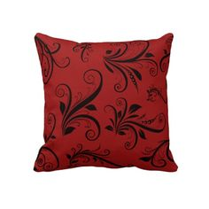 Victorian Ornament Antique Damask Red, Black Pillow