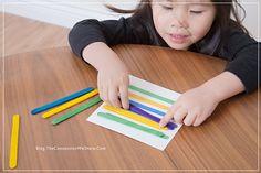 Use palitos de picolé!!! Você pode pintá-los e ter um excelente recurso em mãos. Atividades que envolvam planejamento, praxia, organização espacial, recon...