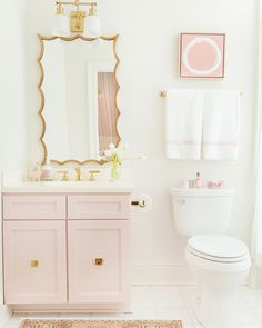 Still blown away 💨 by this nursery I recently photographed designed by the brilliantly talented @alexanderinteriorsnashville. The hand-… Pink Small Bathrooms, Pastel Bathroom, Little Girl Bathrooms, Girl Bathroom Decor, Blush Bathroom, Modern White Bathroom, Bathroom Sets, Vintage Bathrooms, Beautiful Bathrooms